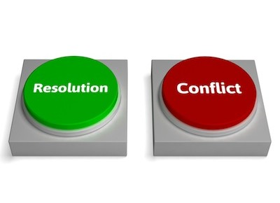 Conflict Resolution Buttons Showing Dispute Or Negotiating