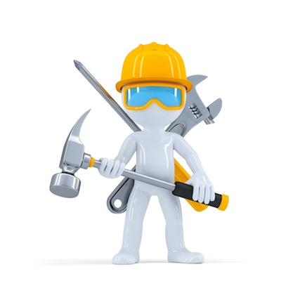 Construction worker/builder with hammer. Isolated on white background
